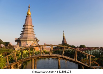 The landscape of two pagoda in Doi Inthanon nature park at Chiang Mai, Thailand. There are two pagoda names Noppamethanedol & Noppapol Phumsiri the landmark and famous place of Chiang Mai, Thailand.