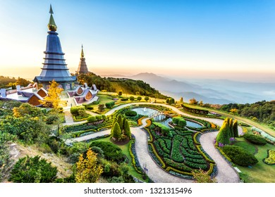Landscape of two pagoda at the Inthanon mountain at sunset, Chiang Mai, Thailand.Inthanon mountain is the highest mountain in Thailand.