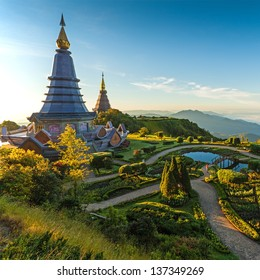 Landscape of two pagoda in an Inthanon mountain, Thailand.