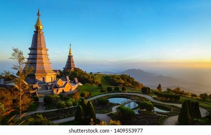 Landscape of two pagodas Noppamethanedol & Noppapol Phumsiri in an Inthanon mountain, Thailand.