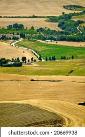 Landscape in Val d'Orcia (Siena, Tuscany, Italy) at summer