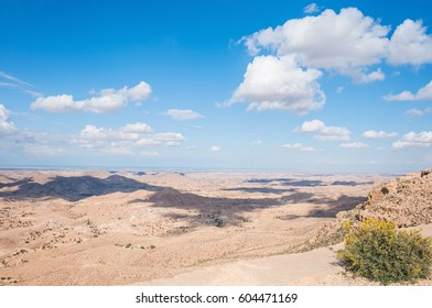 Landscape of valley and blue sky in Sahara, Tunisia