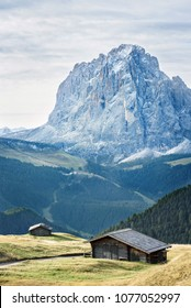 landscape of valley in the dolomites alps