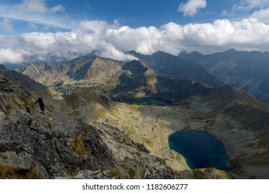 Landscape of Valley of the Five Lakes in the Tatra Mountain, Poland.  Zadni Staw Polski and the Czarny Staw Polski are visible.