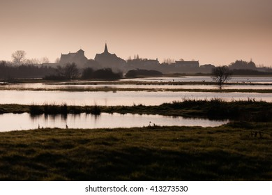Landscape of Vendee in Sallertaine, France