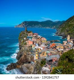 Landscape of Vernazza village in Cinque Terre, Italy.