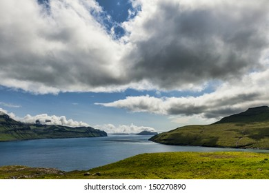 Landscape in Vestmannasund in the Faroe Islands