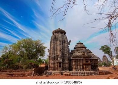 Landscape View of 13th century AD Suka Sari Temple in Bhubaneswar - Odisha, India