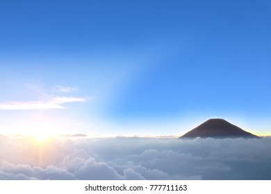landscape view above the sky and cloud with sunrise