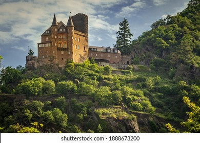 Landscape View from across the Rhine River at Lorelei of the Katz Castle