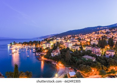 Landscape View of the Adriatic Sea Coast and Harbour After Sunset, Opatija, Croatia