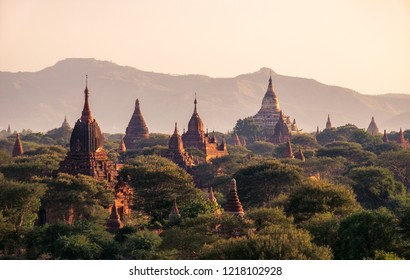 Landscape view of ancient temples at colorful golden sunset, Bagan, Myanmar (Burma)