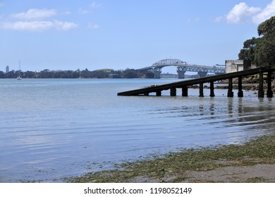 Landscape view of Auckland Harbor Bridge from Herne Bay in Auckland New Zealand