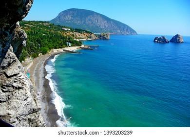 Landscape view to Ayu-Dag Mountain in Gurzuf, Crimea