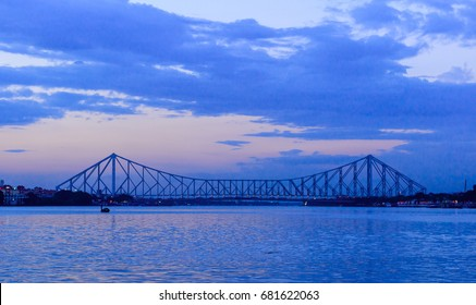 A landscape view from Babughat, kolkata of the Howrah bridge.