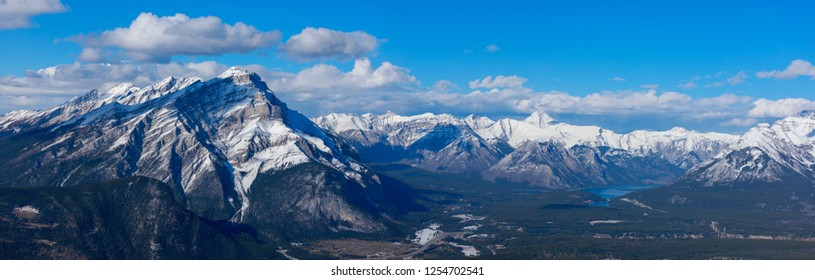 Landscape view of Banff town site and surrounding mountains, as seen from Sulphur Mountain, Banff National Park, Canada