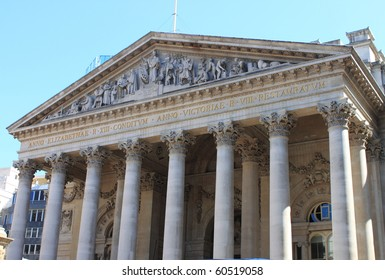 Landscape view of the Bank of England building in London, UK