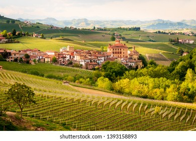 Landscape view of Barolo Village and its Vineyards at Barolo, Italy