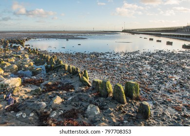 A Landscape view of the beach at the seaside town of Littlehampton, at low tide.