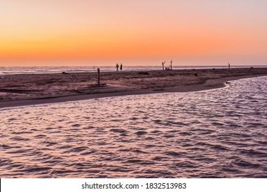 Landscape View Of The Beautiful Beach With Reflection At Sunet, Southwest Coast National Scenic Area, Baishuihu, Dongshi, Chiayi