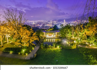 Landscape View of the Beautiful Garden 91 and Taipei City Night View at Yangmingshan (Yangming Mountain, Grass Mountain) National Park, Taipei , Taiwan