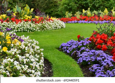 English garden images stock photos vectors shutterstock landscape view of a beautiful landscape garden with a freshly mowed lawn and flowerbeds in bloom workwithnaturefo