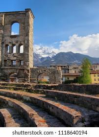 Landscape view of beautiful mountains landscape in Valle d'Aosta. Teatro Romano Aosta, Valle d'Aosta, Italy