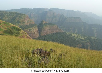 Landscape view of the beautiful Sahayadri mountain ranges of western Ghats