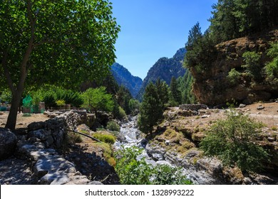 Landscape view of beautiful Samaria gorge in the island of Crete, Greece.