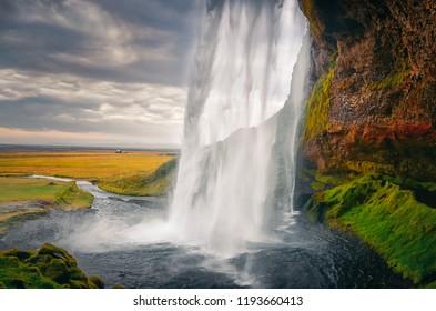 Landscape view of beautiful Seljalandsfoss waterfall in Iceland, Europe