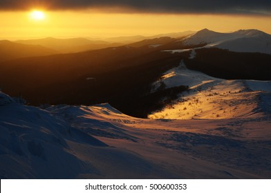 landscape view of Bieszczady mountain during the winter time