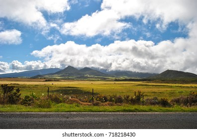 Landscape view, border road, mountains of Reunion Island, France
