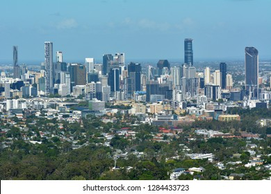 Landscape view of Brisbane city from Mt Coot-Tha lookout in Queensland, Australia.