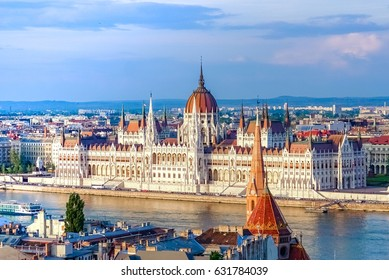 A landscape view of Budapest city in the evening, the Hungarian parliament building and otherr buildings along Danube river, Hungary.