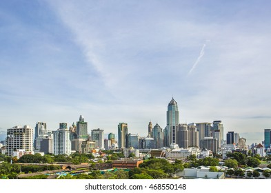 Landscape view of  business building with blue sky , Business zone of Bangkok city -Thailand