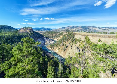 Landscape view of a canyon and the Yellowstone River near Tower Fall in Yellowstone National Park