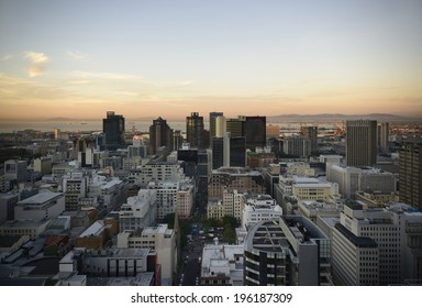 Landscape view of Cape Town's Central Business District. The Image was created on 23-05- 2014 from an elevated viewpoint looking to the North  with Table Bay in the background