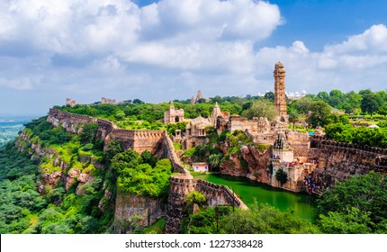 A landscape view of Chittorgarh fort, a UNESCO world heritage site, Rajasthan, India