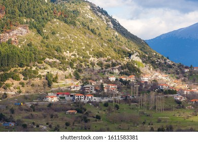 Landscape view of Chrisovitsi village in Arcadia, Greece, built at an altitude of 1,100 meters on a spruce slope of Mainalo, one of the most mountainous settlements in the Peloponnese