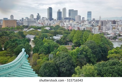 Landscape view of the city of Nagoya in Japan from the castle