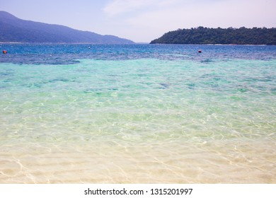 Landscape view of clearly sea water on beach at Lipe island, Satun province, Thailand