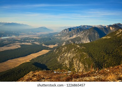 The landscape view of the Columbia Valley from Swansea Mountain near Invermere British Columbia Canada in fall autumn