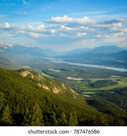 The landscape view of the Columbia Valley from Swansea Mountain near Invermere British Columbia Canada