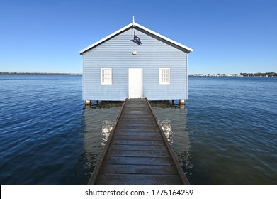 Landscape view of Crawley Edge Boatshed (Blue Boat House) in Matilda Bay Perth Western Australia