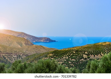 Landscape view of Crete island, Greece. Summer 2017.