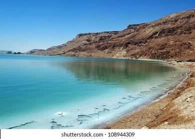 Landscape view of the Dead Sea coastline. Dead Sea, Israel.