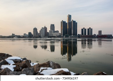 Landscape view of the Detroit River in winter, February 2017