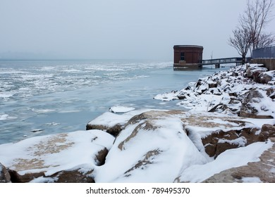 Landscape view of the Detroit River in winter, December 24 2017