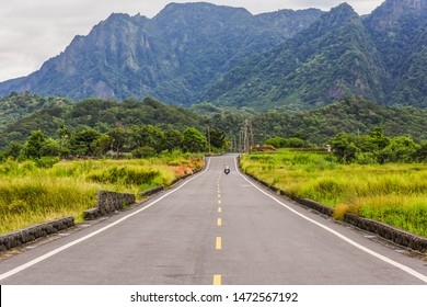 Landscape View Of Diamond Avenue (King Kong Tadao Bike Trails) And Paddy By The Road Next To The Coast Of Pacific Ocean, Taitung, Taiwan