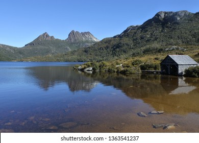 Landscape view of Dove Lake Boatshed at Cradle Mountain-Lake St Clair National Park Tasmania, Australia.